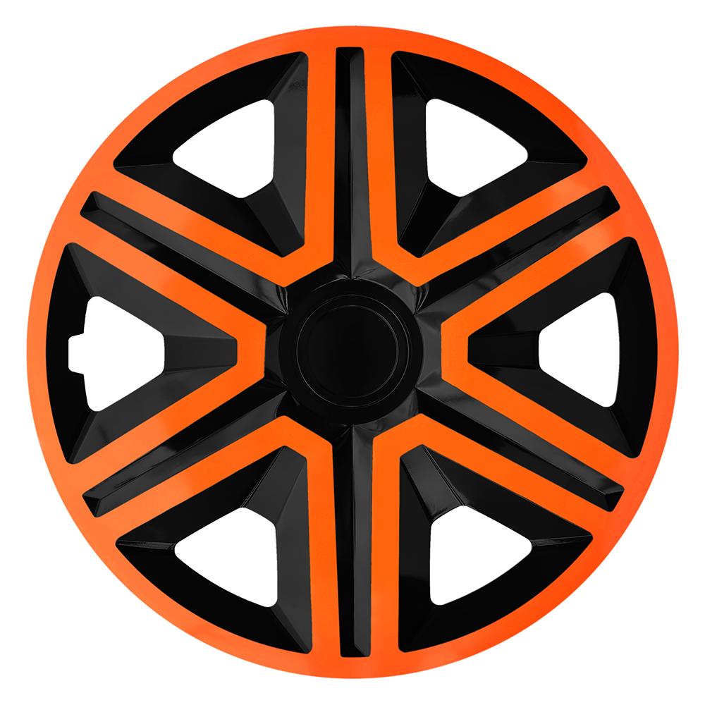 Radkappen Action orange schwarz Radzierblenden