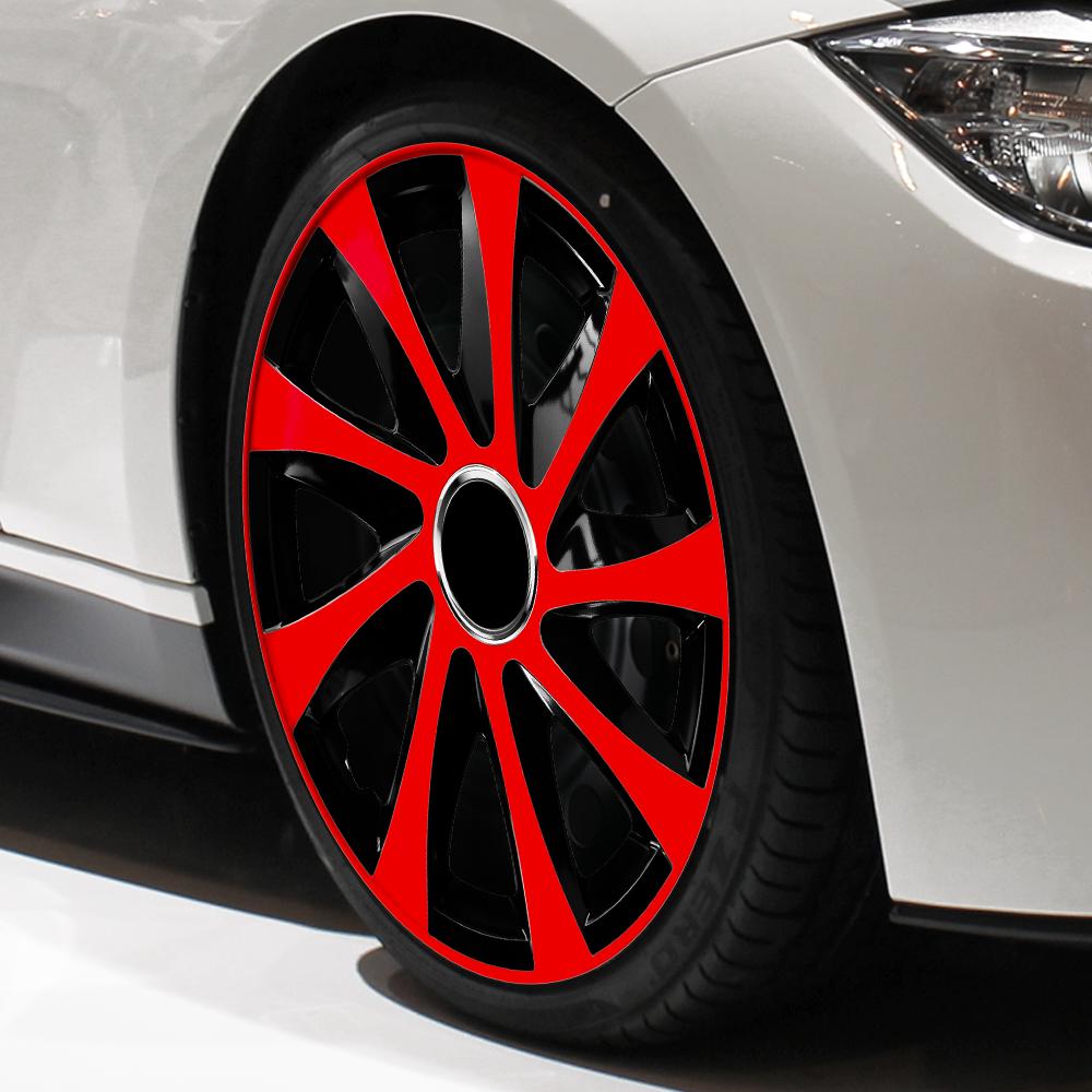 Radkappen Drift Extra rot schwarz Radzierblenden